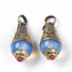 Подвески тибетского стиля, с опалитом, латунная фурнитура, капля, античная бронза, 10x10x25.3 мм, отверстие : 4 мм(TIBEB-E079-16D)