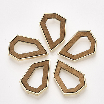 Wood Pendants, Dyed, with Alloy Findings, Polygon, Light Gold, Camel, 33.5x23x6mm, Hole: 1.6mm(X-PALLOY-S179-13C)
