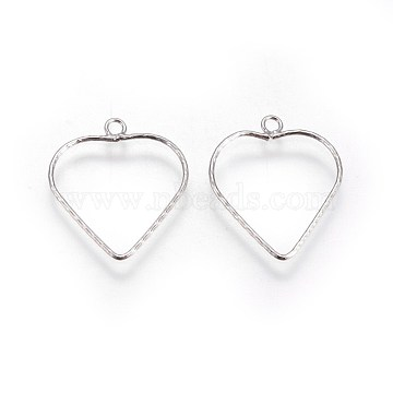 S925 Sterling Silver Pendants, Heart, Platinum, 17.5~18x15.5x0.7mm, Hole: 1.5mm(STER-F046-08P)