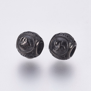 304 Stainless Steel European Beads, Large Hole Beads, Rondelle with Constellations Capricorn, Gunmetal, 10x9mm, Hole: 4mm(STAS-F195-128B-02)