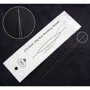 Big Eye Beading Needle, Made Of Stainless Steel, 125x0.3mm(X-ES001Y)