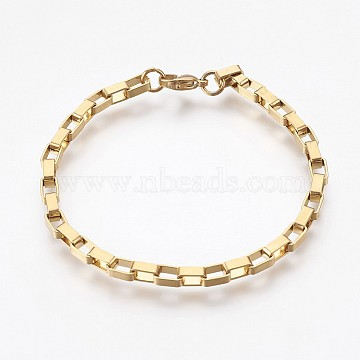Vacuum Plating 304 Stainless Steel Box Chain Bracelets, with Lobster Claw Clasps, Golden, 7-7/8 inches(20cm), 4mm(BJEW-P236-25G)