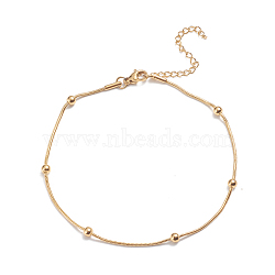 304 Stainless Steel Round Snake Chain Anklets, with Round Beads and Lobster Claw Clasps, Golden, 9-1/2inches(24cm)(AJEW-G024-13G)
