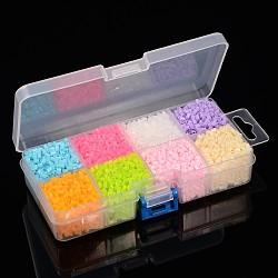 8 couleur pe bricolage perles à repasser fondantes recharges, Tube, couleur mixte, 3~3.3x2.5~2.6 mm; environ 295 pcs / compartiment, 2360 pcs / boîte(DIY-X0241-02-B)