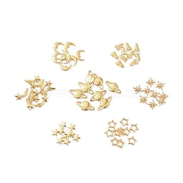 Zinc Alloy Cabochons, Star & Asterism & Star/Meteor & Rocket & Moon, Golden, 7.5~16x6~20x1~3mm, 70pcs/set(PALLOY-X0037-43G)