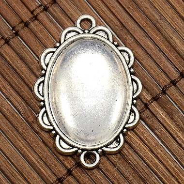 25x18mm Oval Dome Clear Glass Cover and Antique Silver Alloy Cabochon Connector Settings Sets(DIY-X0082-AS-NF)-2