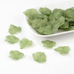 Pendentifs de feuille de vigne en acrylique transparente mat, verte, longueur d'environ 24 mm ,  largeur de 22.5 mm, épaisseur de 3mm, Trou: 1 mm(X-PAF002Y-7)