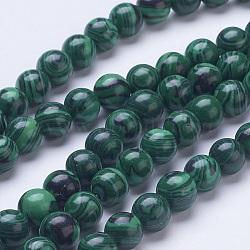 """Chapelets de perles en malachite synthétique, rond, 8mm, trou: 1mm; environ 51 pcs/chapelet, 15.6""""(G-D855-02-8mm)"""
