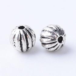 Alliage de style tibétain perles ondulées, rond, Sans cadmium & sans nickel & sans plomb, argent antique, 6x5.5~6mm, Trou: 1mm(X-TIBE-Q063-68AS-NR)