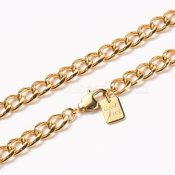Men's Brass Cuban Link Chain Necklaces, with Lobster Claw Clasps, Long-Lasting Plated, Word Good Luck, Real 18K Gold Plated, 24-3/8 inches(61.8cm)(NJEW-H206-14G)