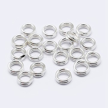 925 Sterling Silver Double Loop Jump Rings, Round Rings, Silver, 4x2mm; Inner Diameter: 2.5mm(STER-F036-01S-1x4mm)