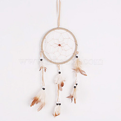 украшение дома кулон, колокольчики, сетка из перьев ручной работы / паутина с пером, суп, 47.5x13 cm(AJEW-WH0092-05B)