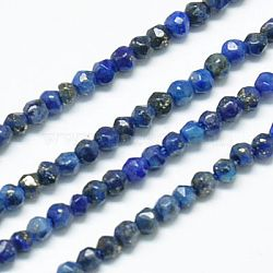 """Chapelets de perles en lapis-lazuli naturel, facette, rond, midnightblue, 2mm, trou: 0.5 mm; environ 185~200 pcs / brins, 15.4""""(X-G-J002-13)"""