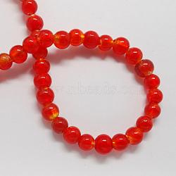 Perles en verre d'argent feuille manuelles, rond, rouge, 8mm, Trou: 2mm(X-FOIL-R054-6)