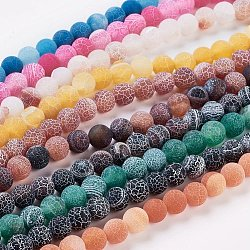 Natural Crackle Agate Beads Strands, Dyed, Round, Grade A, Mixed Color, 8mm, Hole: 1mm; about 50pcs/strand, 14inches