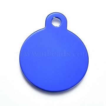 pendentifs en aluminium, estampillage d'une étiquette vierge, plat rond, bleu, 31x25x1 mm, trou: 3 mm(ALUM-I002-01D)