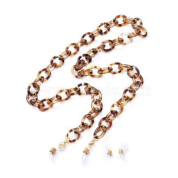 Eyeglasses Chains, Neck Strap for Eyeglasses, with Acrylic Cable Chains, 304 Stainless Steel Lobster Claw Clasps and  Rubber Loop Ends, Goldenrod, 28.34 inches(72cm)(AJEW-EH00038)