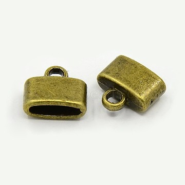 Alloy Cord Ends, Tibetan Style, Lead Free & Cadmium Free & Nickel Free, Antique Bronze, Size: about 10mm long, 11.5mm wide, 5mm thick,  inner diameter: 9x3mm, hole: 2mm, 700pcs/1000g(TIBEP-LF9848YKG-AB-FF)