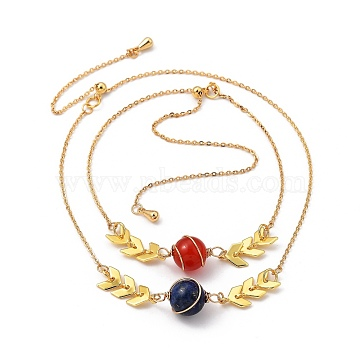 Adjustable Brass Slider Bracelets Sets, with Natural Agate & Lapis Lazuli Beads and Cable Chains, Real 18K Gold Plated, Inner Diameter: 3 inches(7.6cm), 2pcs/set(BJEW-JB05402)