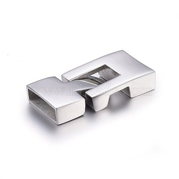 304 Stainless Steel Snap Lock Clasps, Stainless Steel Color, 33x16x6mm, Hole: 4x14mm(STAS-E440-69P)
