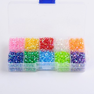 4mm Mixed Color Bicone Acrylic Beads