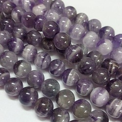 Gemstone Beads Strands, Natural Grade B Amethyst, Round, Purple, 6mm, Hole: 1mm; about 66pcs/strand
