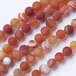 Natural Grade A Striped Agate/Banded Agate Beads Strands, Dyed & Heated, Frosted, Round, DarkSalmon, 10mm, Hole: 1.2mm; about 47pcs/strand, 14.9''(38cm)