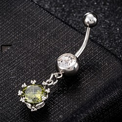 Piercing Jewelry, Brass Cubic Zirciona Navel Ring, Belly Rings, with Use Stainless Steel Findings, Cadmium Free & Lead Free, Flower with Teardrop, Olive Drab, 38x11mm; Pin: 1.5mm(AJEW-EE0003-01E)