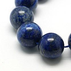 Natural Lapis Lazuli Beads Strands, Dyed, Round, MidnightBlue, 20mm, Hole: 1mm, 15.7