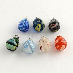 pendentifs en verre fait main millefiori avec des résultats en fer plaqué platine, déposer, couleur mélangée, 17~20x12 mm, trou: 2 mm(LK-R005-14)