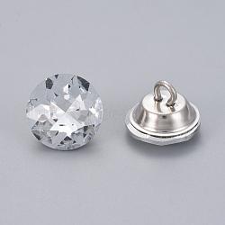 boutons de rhinestone, avec les conclusions de fer, 1-trou, plat rond, platine, cristal, 24.5x17 mm, trou: 3.5 mm(BUTT-WH0014-04D)