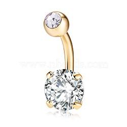piercing bijoux, anneau de nombril de zircon cubique en laiton environnemental, anneaux de ventre, avec les résultats en acier inoxydable, plat rond, véritable plaqué or, effacer, 21x8 mm; broches: 1.5 mm(AJEW-EE0006-24F)