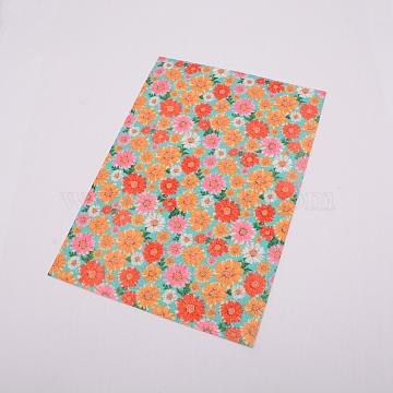 Flower Pattern Imitation Leather Fabric, for DIY Earrings Making, Orange, 21x30cm(DIY-WH0183-06D)