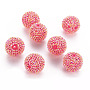 AB-Color Resin Rhinestone Beads, with Acrylic Round Beads Inside, for Bubblegum Jewelry, Magenta, 26mm, Hole: 2~2.5mm