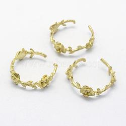 Brass Cuff Finger Ring Settings, Lead Free & Cadmium Free & Nickel Free, Flower, Raw(Unplated), 20mm(X-KK-F721-180C-RS)