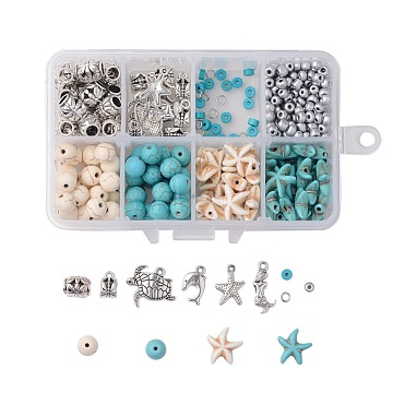Ocean Theme DIY Jewelry Sets, with Synthetic Turquoise Beads, Alloy Pendants & Beads, Baking Paint Glass Seed Beads, Sea Turtle & Sea Star & Dolphin & Mermaid, Mixed Color, 110x70x30mm(DIY-JP0003-56)