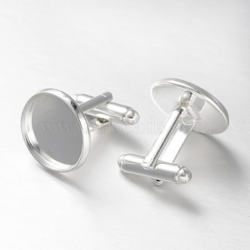 Brass Cuff Button, Cufflink Findings for Apparel Accessories, Silver Color Plated, Tray: 16mm; 27x18mm(KK-E062-S)