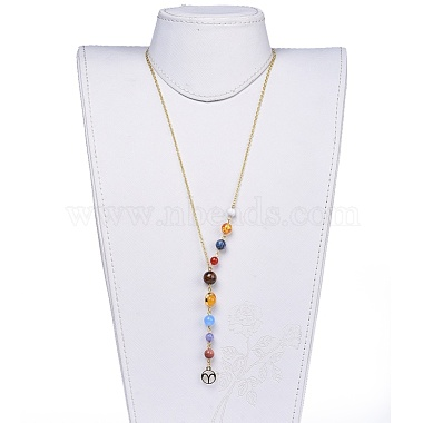Universe Galaxy The Nine Planets Guardian Star Stone Necklaces(NJEW-JN02413-01)-4
