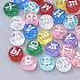 Mixed Color Flat Round Acrylic Beads(X-SACR-T338-09)