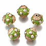 Yellow Green Round Polymer Clay Beads(IPDL-E012-14E)