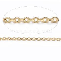 304 chaînes de câbles en acier inoxydable, soudé, avec bobine, or, 1.5x1.3x0.3 mm; sur 10 m / rouleau(CHS-H007-01G)