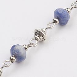 """Chaînes de perles de jaspe tache naturelle naturelle, non soudée, avec perle d'espacement en fer, Perle style tibétain, épingle à œil en fer, facette, 17x7.5mm; 39.37"""" (1m) / brin(AJEW-JB00405-01)"""