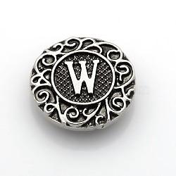 Boutons à pression de bijoux de lettre d'émail d'alliage de zinc de ton argent antique, plat rond, sans plomb & sans nickel & sans cadmium , letter.w, 19x6 mm; bouton: 5 mm(SNAP-N010-86W-NR)