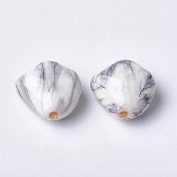 perles acryliques imprimés, lightgrey, 23.5x23.5x13 mm, trou: 3 mm(MACR-T024-36)