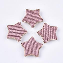 Flocky ccb boutons en plastique, 1-trou, étoiles, flamant, 38x40x9mm, Trou: 3x4.5mm(BUTT-T003-09D)