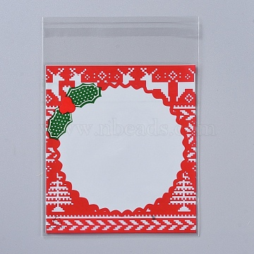 Christmas Cookie Bags, OPP Cellophane Bags, Self Adhesive Candy Bags, for Party Gift Supplies, Red, 13x10x0.01cm; 95~100pcs/bag(ABAG-I002-A04)