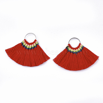 Polycotton(Polyester Cotton) Tassel Pendant Decorations, with Brass Findings, Fan, Platinum, Red, 40~45x48~57x3mm, Hole: 13mm(X-FIND-S287-01)