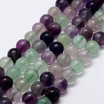 Natural Rainbow Fluorite Bead Strands, Round, 8mm, Hole: 1mm; about 48pcs/strand, 15 inches(G-P255-01-8mm)