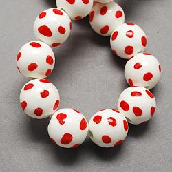 Perles en porcelaine manuelles, porcelaine de la famille rose, rond, rouge, 14mm, Trou: 3mm(X-PORC-Q211-14mm-2)