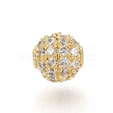 Brass Micro Pave Cubic Zirconia Beads, Round, Clear, Golden, 5mm, Hole: 0.7mm(X-ZIRC-Q015-113G)